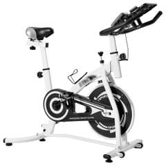 CYS280 Indoor Silent Spinning Bike Fitness Bicycle with Adjustable Seat / Handle & Beverage Holder & Mobile Phone / Tablet PC Holder & Mat & LCD Monitor (White)
