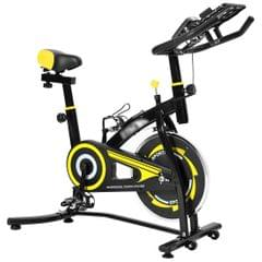 CYS280 Indoor Silent Spinning Bike Fitness Bicycle with Adjustable Seat / Handle & Beverage Holder & Mobile Phone / Tablet PC Holder & Mat & LCD Monitor (Yellow)