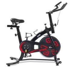 Indoor Fitness Bike, Home Exercise Flywheel, Spinning Bicycle With Adjustable Handle, Seat And Resistance (Red)