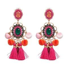 Drop Hairball Earring Handmade Tassel Big Earring Fringed earrings (Pink)