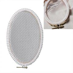 Oval Embroidery Shed Lace Pad Jewelry Rack Earrings Storage Display Stand, Light Yarn Pearl Version, Size: L (Wood)