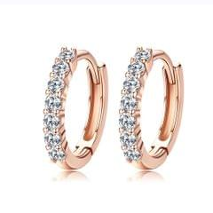 S925 Sterling Silver Jewelry Earrings Inlaid Zircon Earrings (Rose Gold)