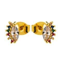2 Pairs Personalized Demon Eye Earrings Women Copper Micro-inlaid Colored Zircon Earrings