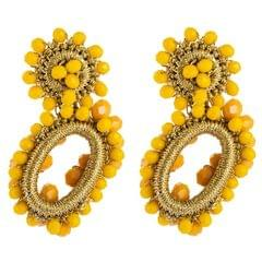 Hand-woven Bohemian Womens Earrings Hollow Oval String Rice Bead Earrings (Yellow)