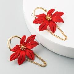 2 Pairs Maple Leaf Shaped Hollow Leaf Flower Earrings Personality Forest Alloy Tassel Earrings (Red)