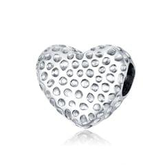 S925 Sterling Silver Shining Heart Beads DIY Bracelet Necklace Accessories