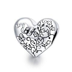 S925 Sterling Silver Heart Shaped Vine Butterfly Beads DIY Bracelet Necklace Accessories