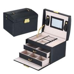 Simple Portable Jewelry Box Earrings Ring Storage Consolidation Box with Drawers, Size : 17.5 x 14 x 13cm (Black)