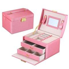 Simple Portable Jewelry Box Earrings Ring Storage Consolidation Box with Drawers, Size : 17.5 x 14 x 13cm (Rose Red)