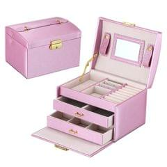 Simple Portable Jewelry Box Earrings Ring Storage Consolidation Box with Drawers, Size : 17.5 x 14 x 13cm (Violet)