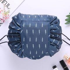 Fashion Waterproof Large Capacity Quick Drawstring Makeup Jewelry Storage Bag Women Travel Cosmetic Bag Toiletry Tool Kit (Navy feather)