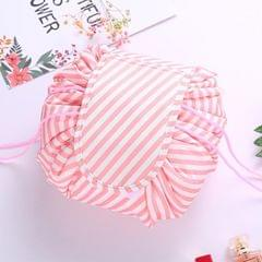 Fashion Waterproof Large Capacity Quick Drawstring Makeup Jewelry Storage Bag Women Travel Cosmetic Bag Toiletry Tool Kit (Pink stripe)