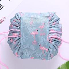 Fashion Waterproof Large Capacity Quick Drawstring Makeup Jewelry Storage Bag Women Travel Cosmetic Bag Toiletry Tool Kit (Flamingo)