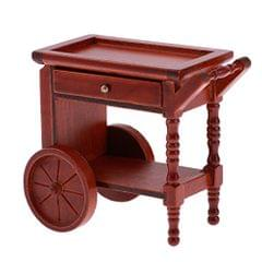 1/12 Miniature Wooden Tea Table Cart Furniture for Dolls House Any Room Accessories Annatto Color