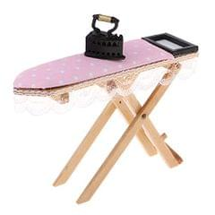 1:12 Dollhouse Miniature Wooden Ironing Board Table with Vintage Metal Iron Room Decor