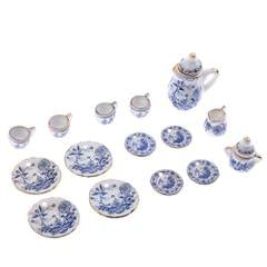 1/12 Dollhouse Miniature Tableware Tea Coffee Wine Cup Set 15 Pieces Kit Blue Flower Patterns