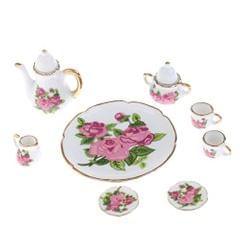 8pcs Dollhouse Miniatures Rose Flowers Ceramic Tea Set Pot Cup Saucer Plate