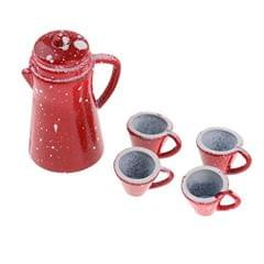 1/12 Scale Chinese Porcelain Coffee Tea Set Dollhouse Miniature Tableware Cookware Furniture Decoration Red