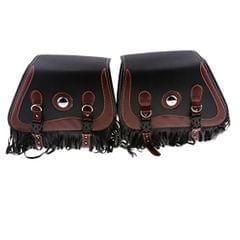 Black & Brown Retro Leather Motorcycle Tassels Saddlebags Panniers Luggage