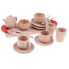 16pcs/ Set Wooden Tea Set Tea Party Pretend Role Play Developmental Game Toy for Kids - Saucer Cup Salver Tableware Spoons & Forks