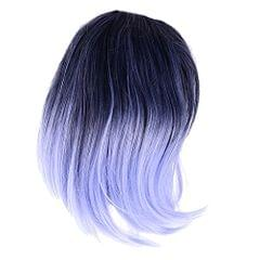 45cm Women Curly Black Blue Ombre Hair Wigs with Blunt Bangs Cosplay Costume Party Props Heat Resistant Hair Fiber Wig