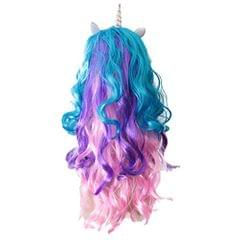 Funny Unicorn Horn Long Curly Wavy Hair Wigs Party Costume Fancy Dress