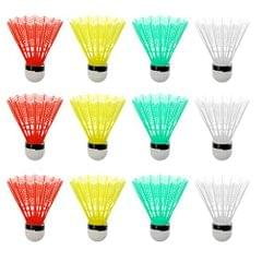 12 Pieces Colorful Plastic Badminton Shuttlecocks Balls Sport Training Game