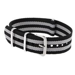 Durable Nylon Watch Band Strap 18Mm Black Gray