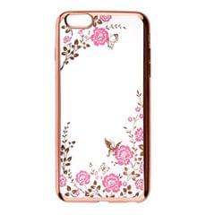 Fashionable Crystal Flower Charms Phone Case Cover Compatible for iPhone 6/6s Plus Dust Scratch Protection -Rose Gold Pink Flower