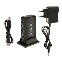 USB 7 Port Extended Recharger 7 Port USB 2.0 Hub with AC Adapter & Vertical Stand EU Plug