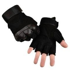 Male Half-finger Knife-resistant Riding Fighting Training Non-slip Wear-resistant Breathable Gloves, Size:M (Black)