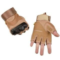 Male Half-finger Knife-resistant Riding Fighting Training Non-slip Wear-resistant Breathable Gloves, Size:L (Light Brown)