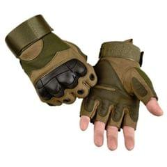 Male Half-finger Knife-resistant Riding Fighting Training Non-slip Wear-resistant Breathable Gloves, Size:XL (Green)