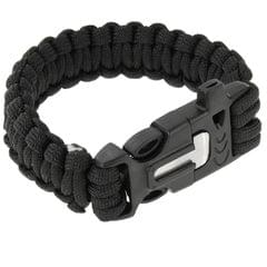 Multi-functional Outdoor Flint Nylon Braided Survival Bracelets with Whistle, Length: 25cm (Black)