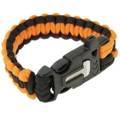 Multi-functional Outdoor Flint Nylon Braided Survival Bracelets with Whistle, Length: 25cm (Orange)