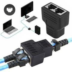 Crystal Network Straight Through Head-line Connector Terminal Female to Female Three Head RJ45 Interface Extension Device (Black)