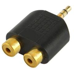 RCA Female to 3.5mm Male Jack Audio Y Adapter (Black)