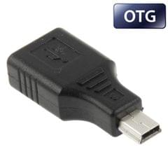 Mini USB Male to USB 2.0 Female Adapter with OTG Function (Black)
