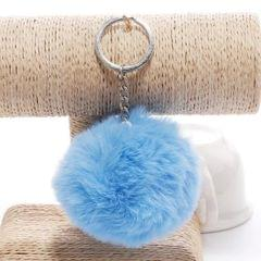 Simple Key Chain Fur Ball Pompon Keychain Pompom Artificial Rabbit Fur Animal Keychains for Woman Car Bag Key Rings (blue)