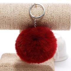 Simple Key Chain Fur Ball Pompon Keychain Pompom Artificial Rabbit Fur Animal Keychains for Woman Car Bag Key Rings (wine red)