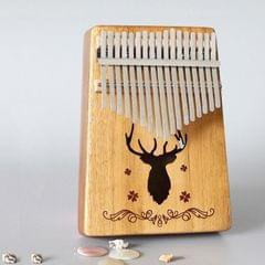 17-tone Kalimba Portable Thumb Piano, Style:Acacia-Classic Deer