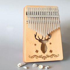 17-tone Kalimba Portable Thumb Piano, Style:Spruce-Classic Deer