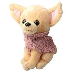 24 x10 x10cm Cute Pet Dog Wearing Clothes Doll  / Gift (Yellow)