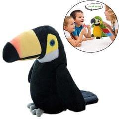 Plush Toy Parrots Recording Talking Parrots Will Twist the Fan Wings Children Toys, Size:Height 18cm (Black)
