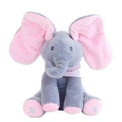 Singing Elephant/Bear Electronic Music Plush Toy Game Doll Educational soft stuffed Comfort Toy Gift for Children (gray and pink)