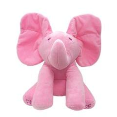 Singing Elephant/Bear Electronic Music Plush Toy Game Doll Educational soft stuffed Comfort Toy Gift for Children (pink)