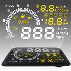 W02 5.5 inch Car OBDII HUD Warning System Vehicle-mounted Head Up Display Projector with LED, Support Fuel Consumption & Over Speed Alarm & Water Temperature
