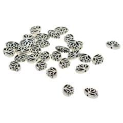 LOT 30Pcs MINI Tibetan Silver Spacer Beads, Hollow Out Yoga Lotus Shape Loose Beads Charms for DIY Earrings, Bracelets, Necklaces (16 x 13 x 4 mm)