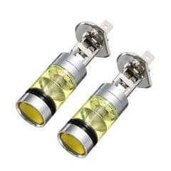 2pcs H1 100W Fog Light Yellow LED DRL Projector Lamp Bulb for Car Vehicle