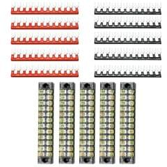 5 Sets 600V 15A Double Row 12-Positions Screw Terminal Barrier Strip Blocks